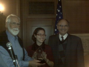 Sarah Karlinsky and Chris Poland, 2010 Award Receipients, with Chapter President Tom Tobin